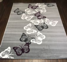 Rugs Approx 8x5ft 160x230cm Woven Backed Butterfly Designs Grey/Purple Bargains
